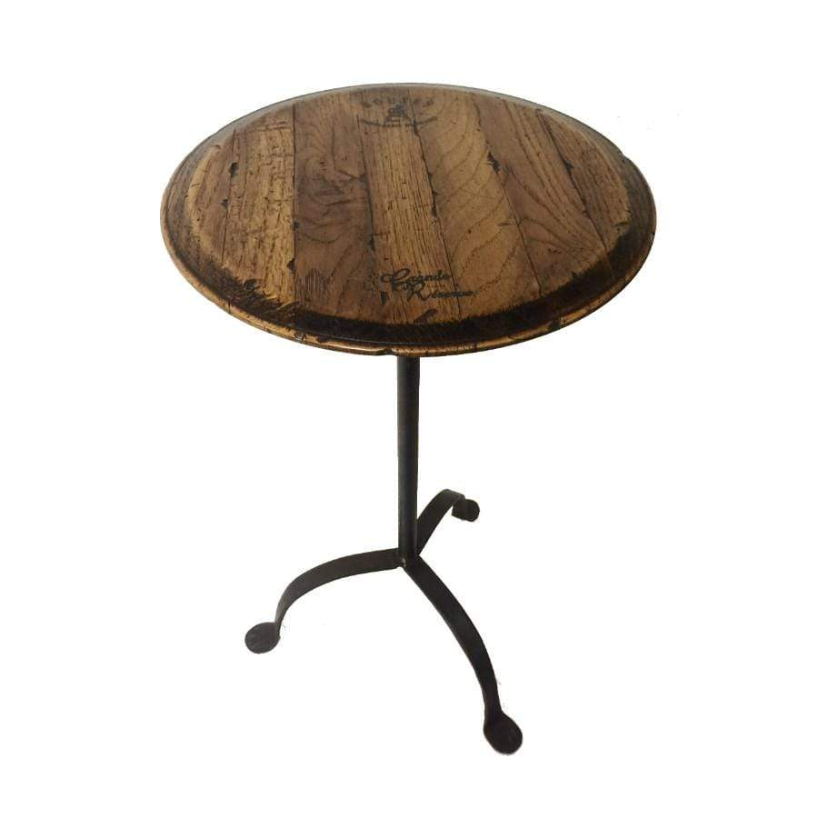 Adjustable Wood and Iron Candle Table with Barrel Top Made in New Zealand