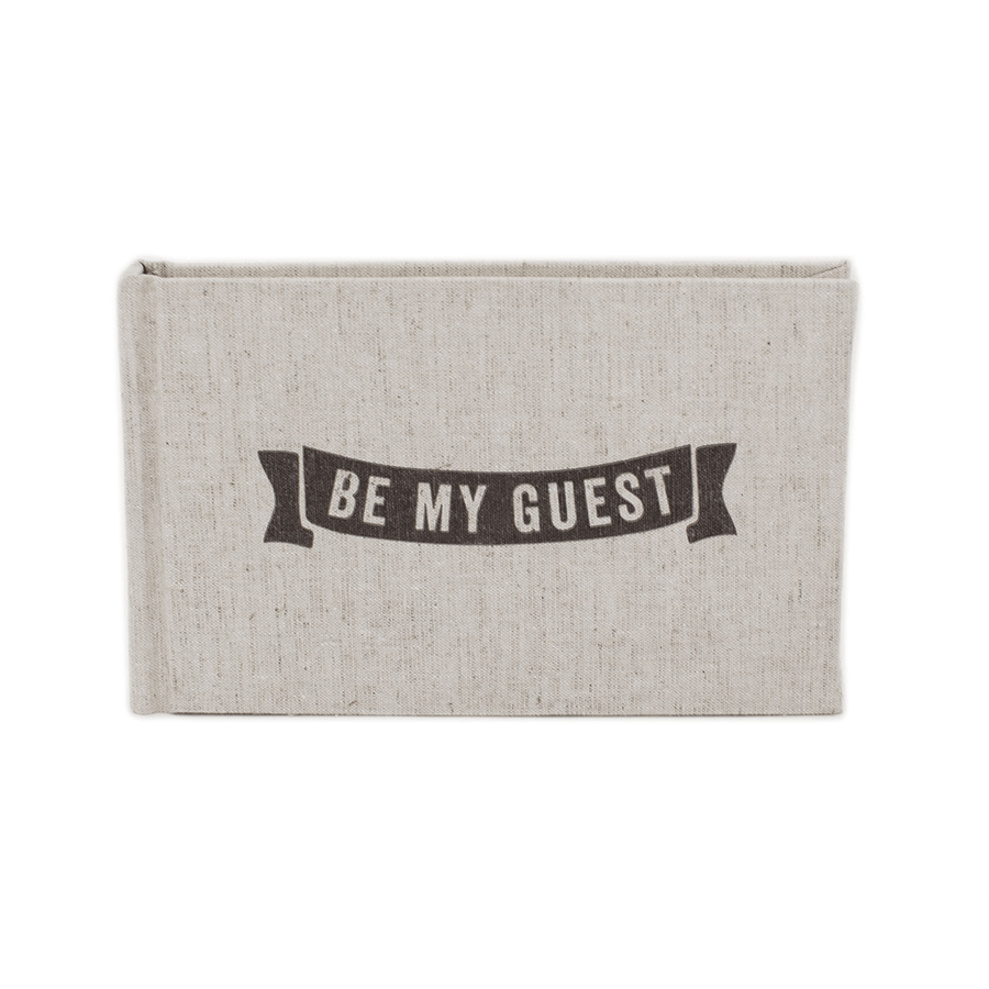"""BE MY GUEST"" Linen Guest Book"