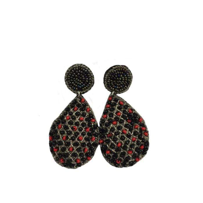 Black and Red dot Earrings