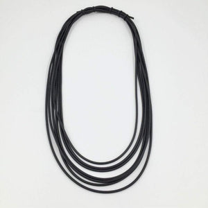 Black Neo Short Multistrand Necklace | Black
