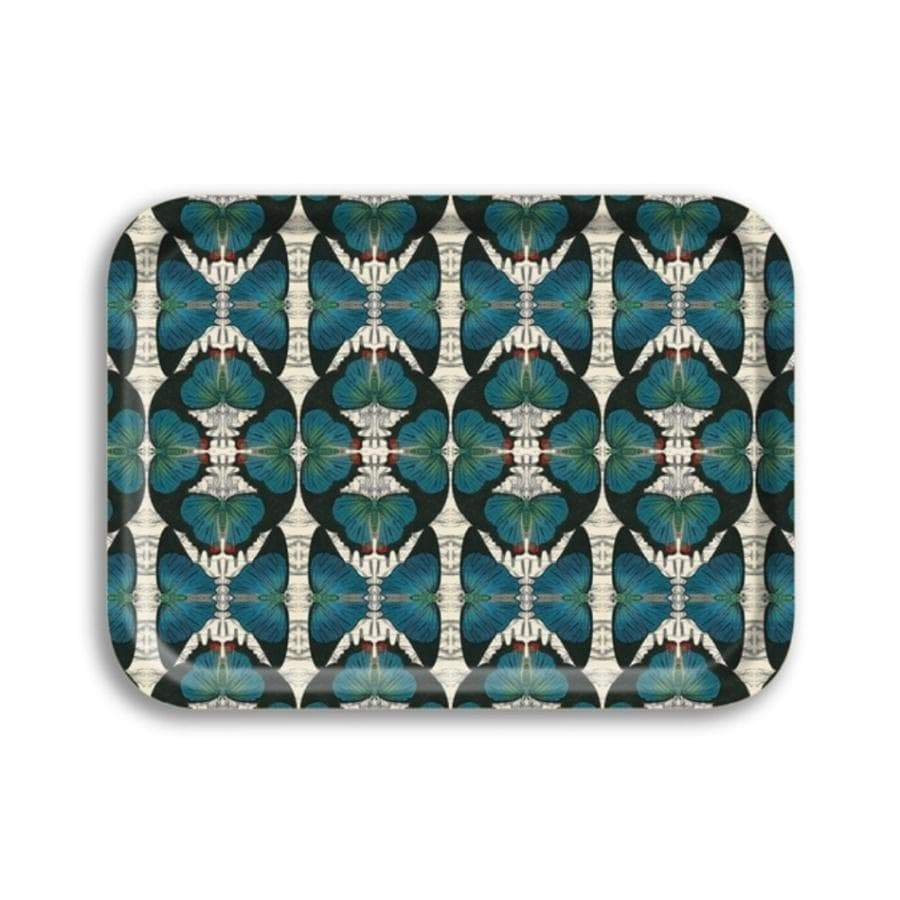 Blue Butterfly- Birchwood Tray Small
