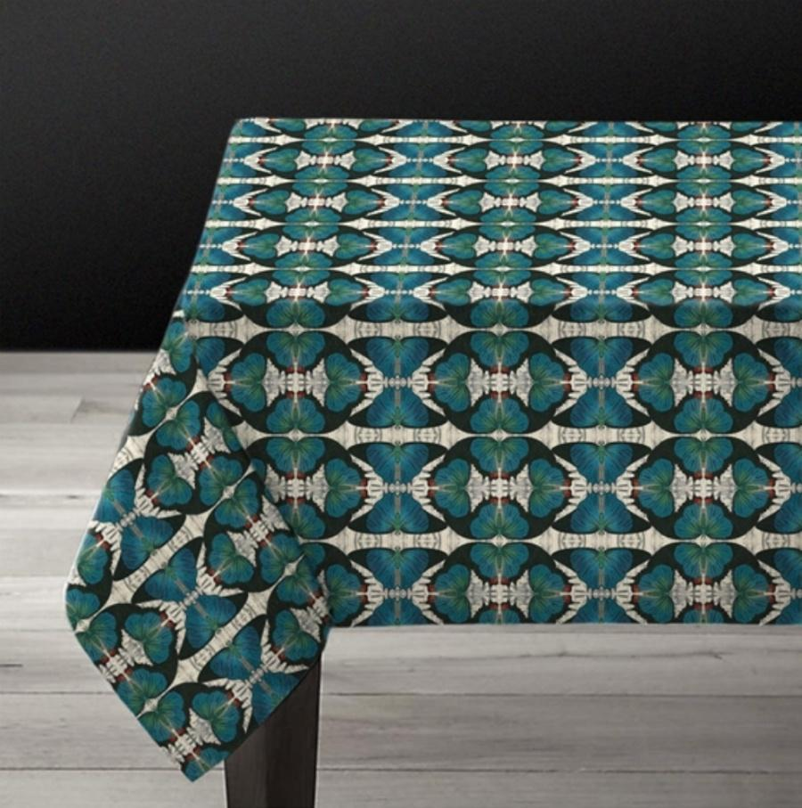Blue Butterfly- Linen Tablecloth