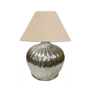 Brass Urn Lamp with Ridges + shade