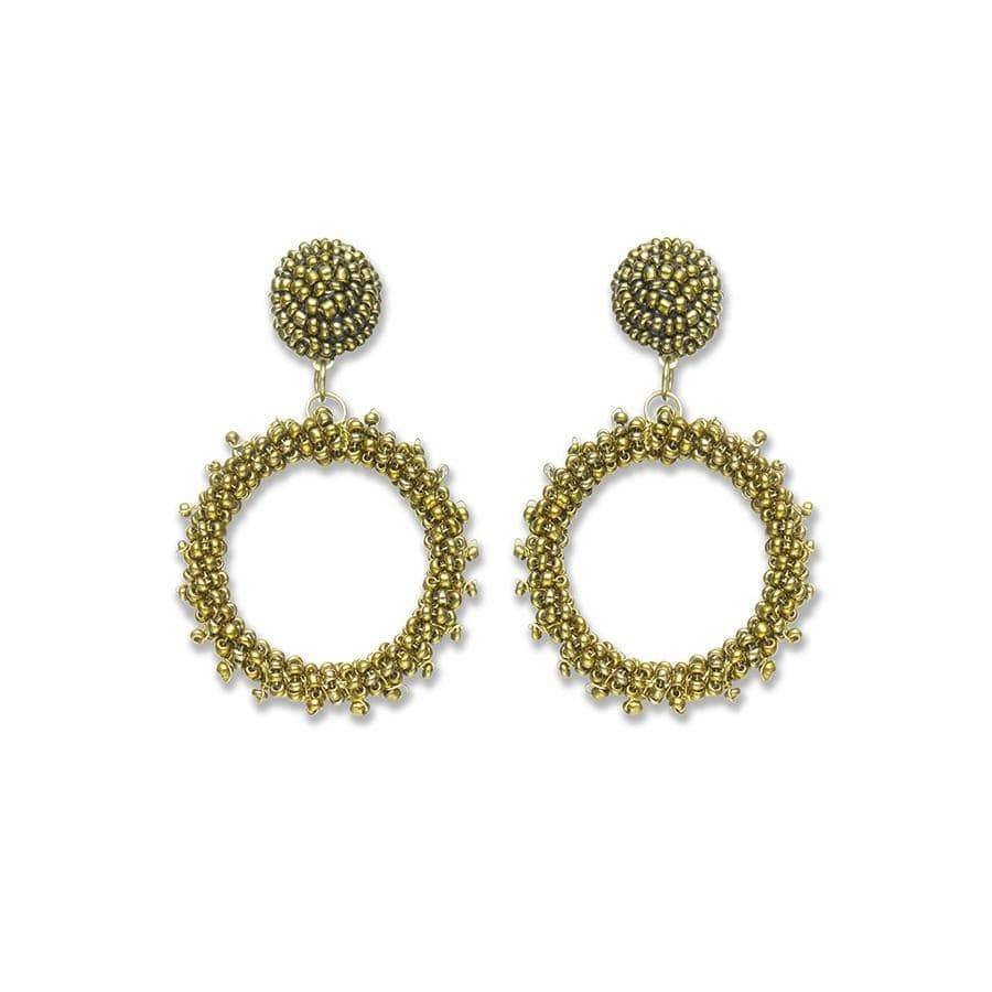 Bronze Dot & Hoop Earrings