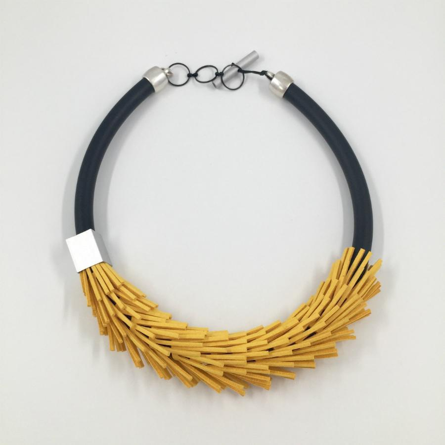 Christina Bampti Leather and Rubber Necklace
