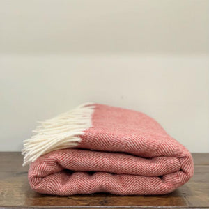 Coral Mt Somers Lambswool  Throw