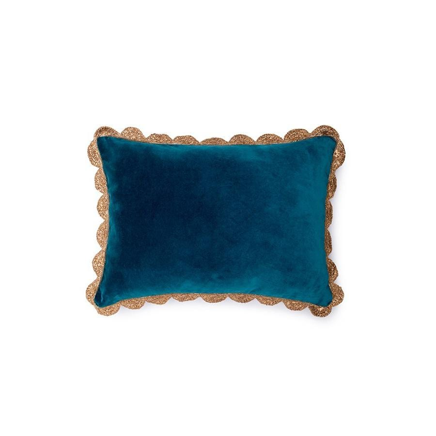 Traces of Me | Rectangular Velvet Cushion | Ocean Depths