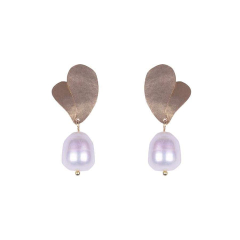 Double Leaf Pearl Drop Earrings