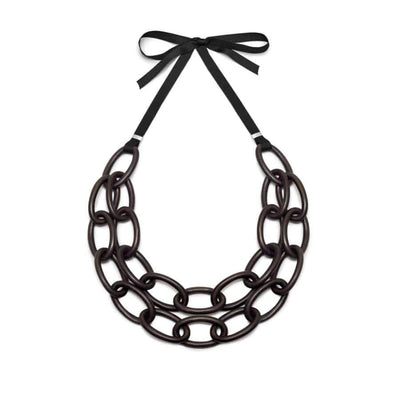 Double Strand Oval link Necklace | Blackwood/Sterling Silver