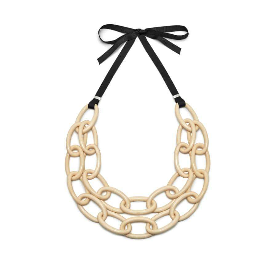 Double Strand Oval link Necklace | Whitewood/Gold Plated