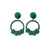 Emerald Woven Knot |  Loop Earrings