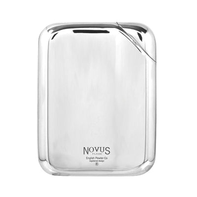 English Pewter Novus Hip Flask in Leather Pouch - 5.5oz