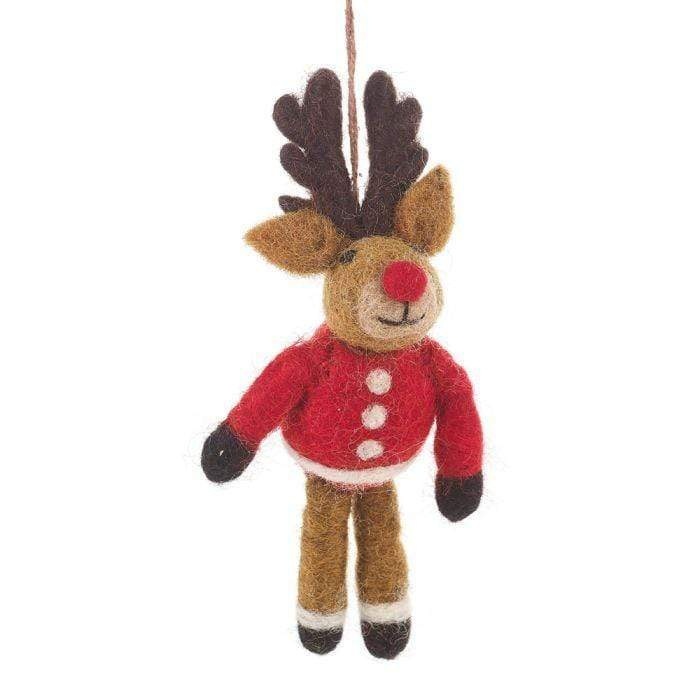 Felt Rudolph in Jumper Decoration