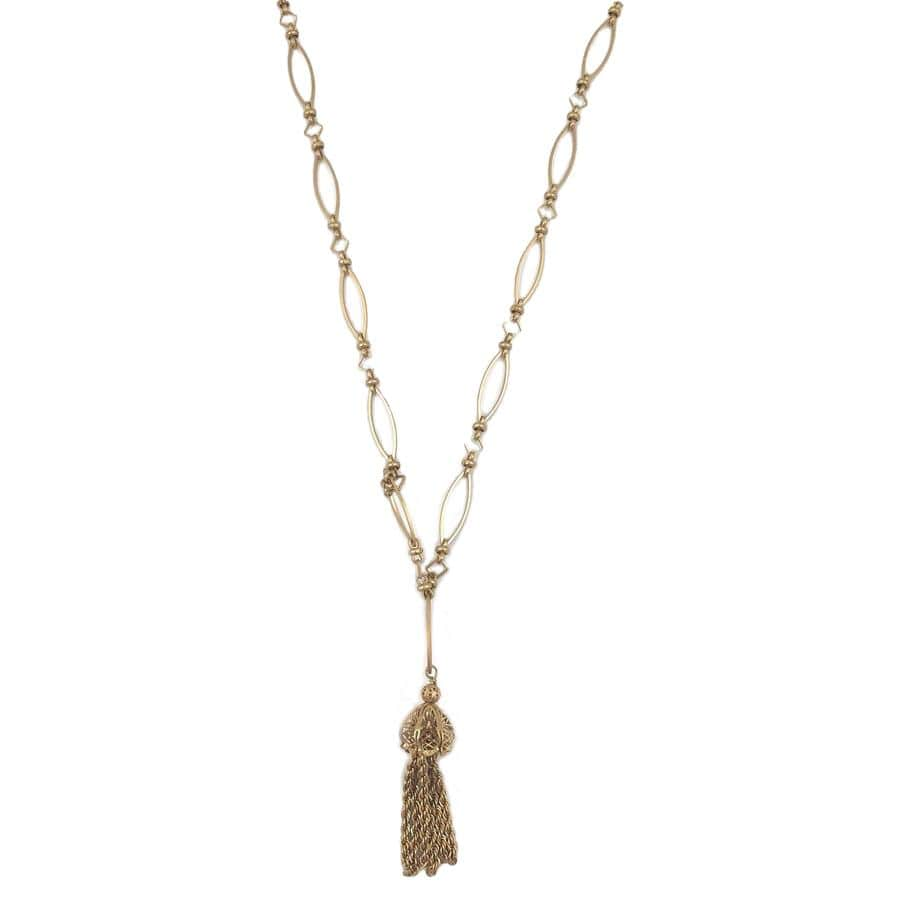 Gold Marquise Tassel Necklace