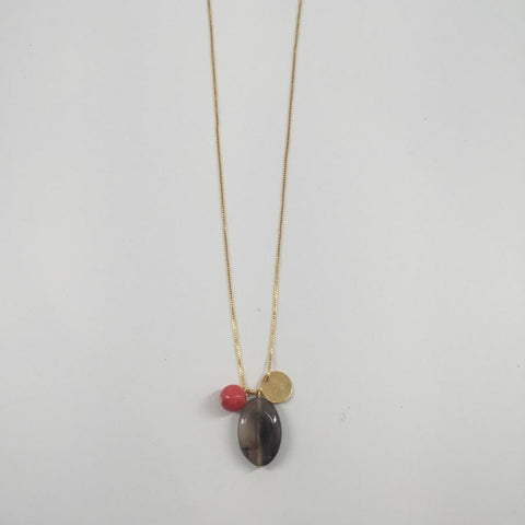 Gold Plated Chain Necklace / Red and Grey Beads