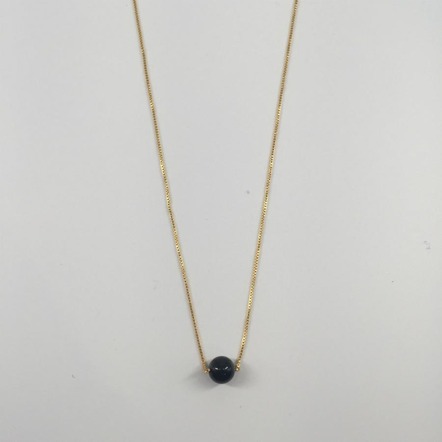 Gold Plated Chain Necklace with Black Bead