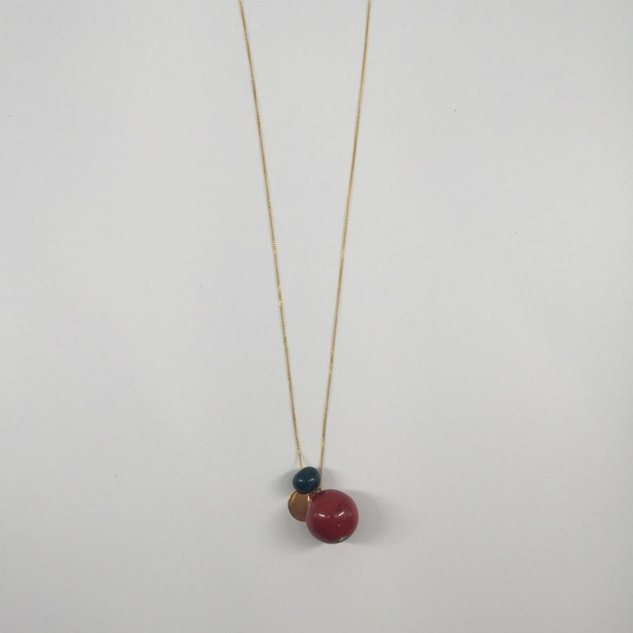 Gold Plated Red & Green Porcelain Necklace