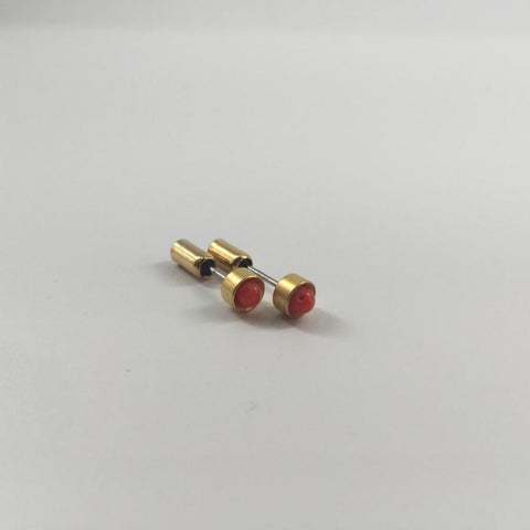 Gold Plated Stud with Coral Bead