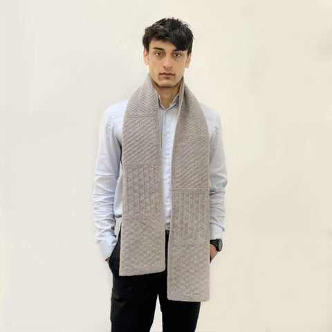 Guernsey Lambwool Scarf Light Grey