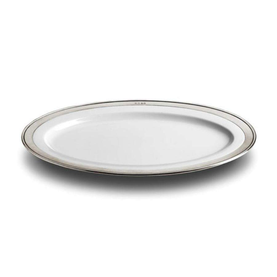 Italian Ceramic and Pewter Serving Platter