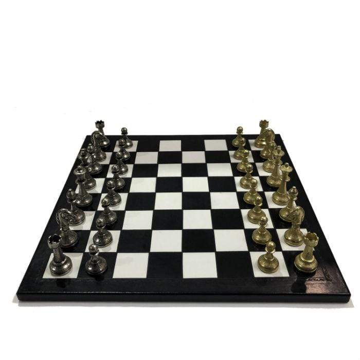 Italian leather chess board with metal pieces