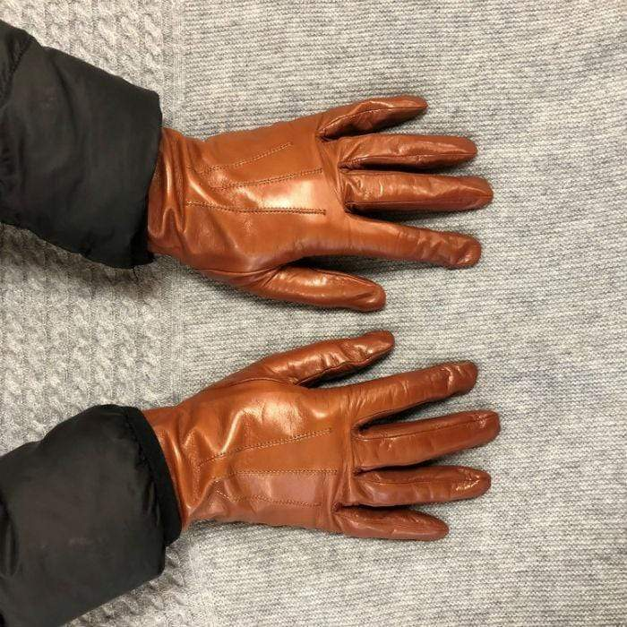 Italian Leather Silk Lined Gloves - Cognac