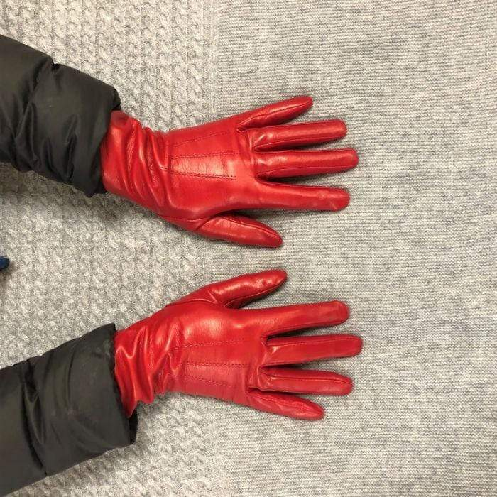 Italian Leather Silk Lined Gloves-Red