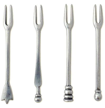 Italian Pewter Assorted Cocktail Forks Set of 4