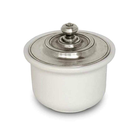 Italian Pewter Ceramic Sugar Bowl with Lid