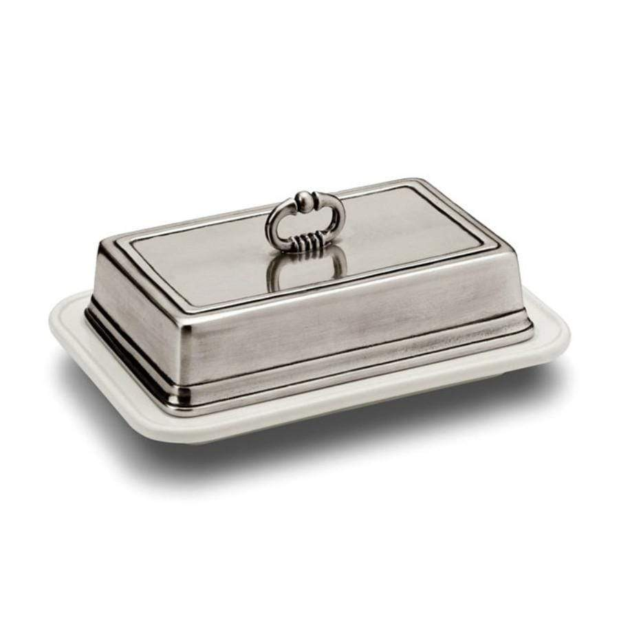 Italian Pewter Rectangle Butter Dish