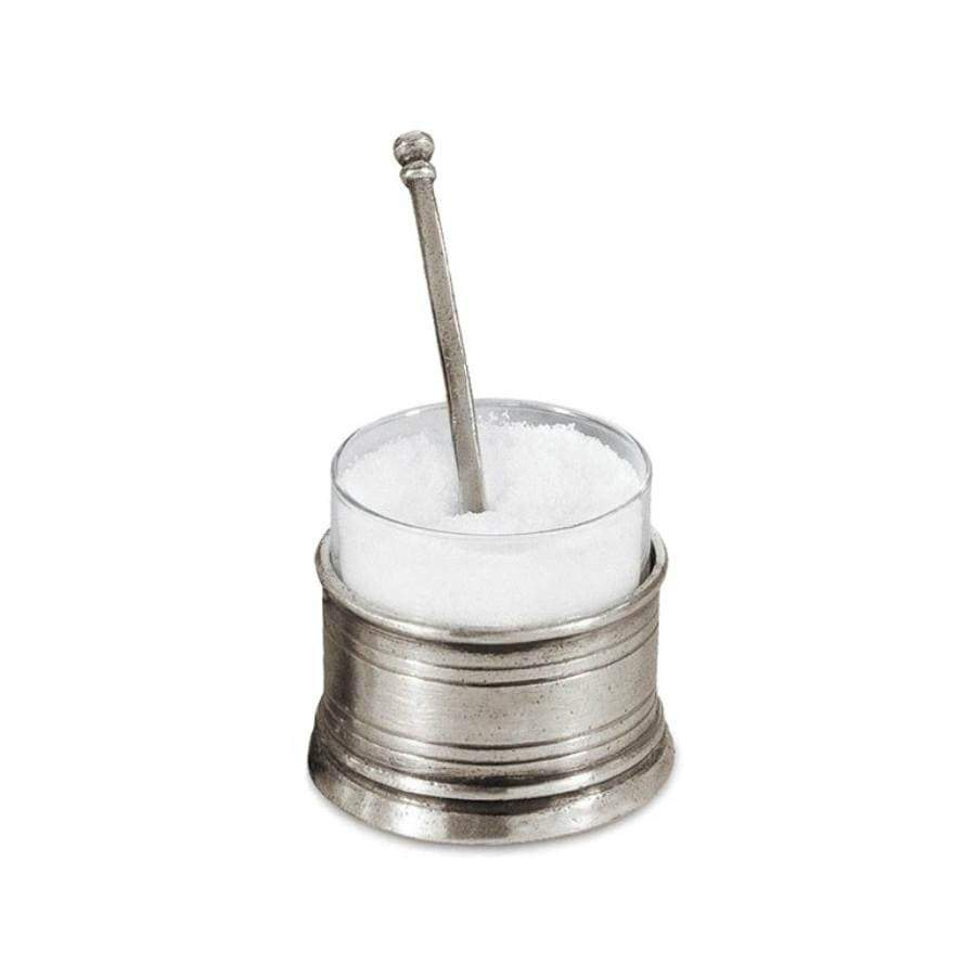 Italian Pewter Salt Cellar w Spoon