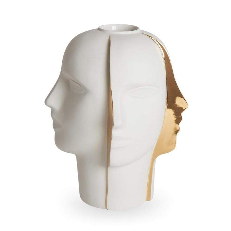 Jonathan Adler - Atlas Split Vase - White/Gold