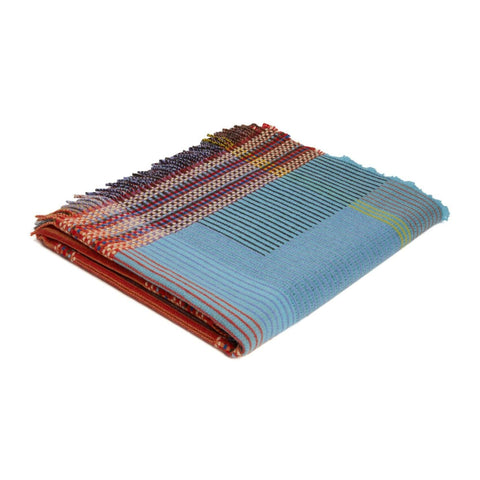 Lambswool Beatrix Pinstripe Throw Small - Orange/Blue
