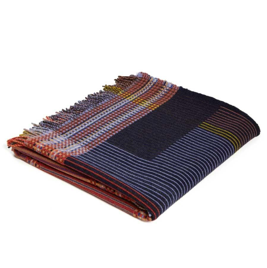 Lambswool Calvert Small Throw | Navy
