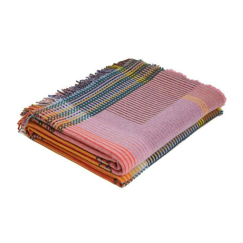 Lambswool Hambling Pinstripe Throw Large -Yellow/Pink