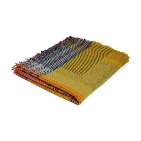 Lambswool Hambling Pinstripe Throw- Yellow/Pink