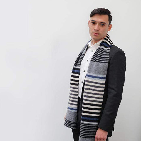 Lambswool Mull Scarf - Blue