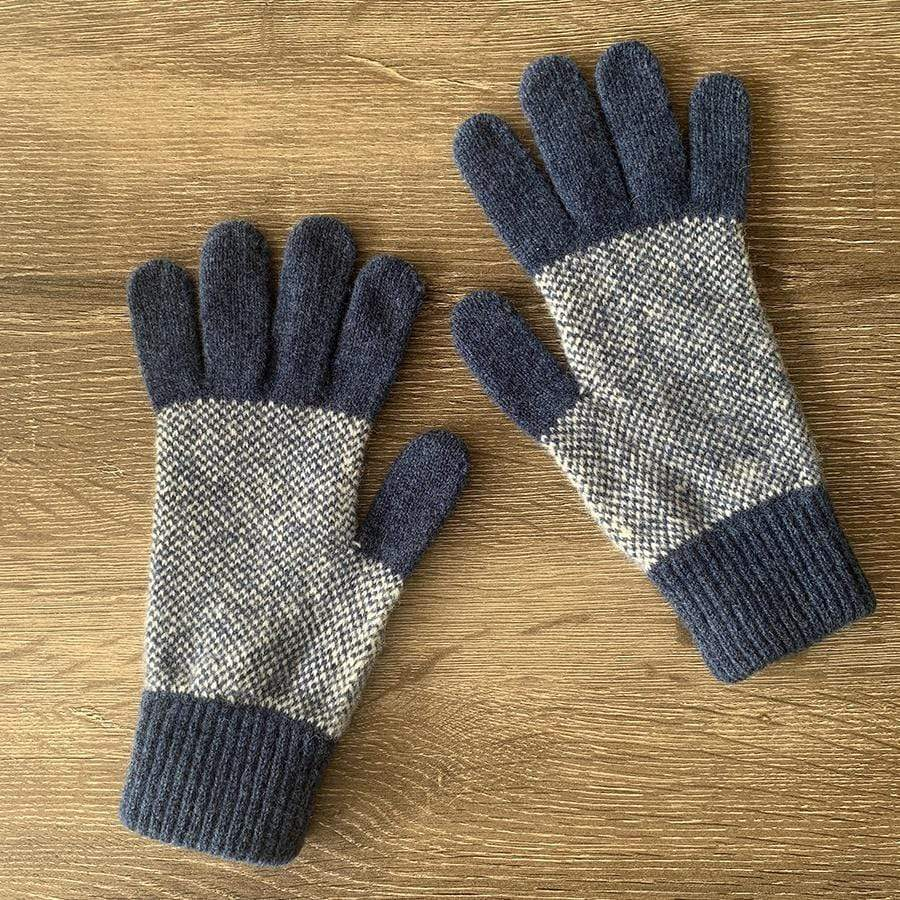 Lambswool Tiree Gloves | Blue