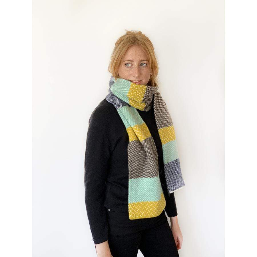 Lambswool Tiree Scarf | Yellow/Green
