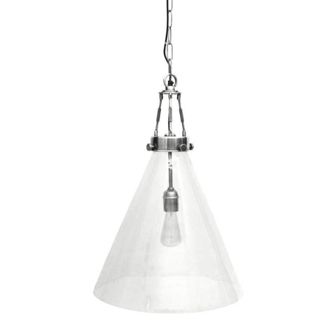 Large Glass hanging Light with Brushed Pewter Finish