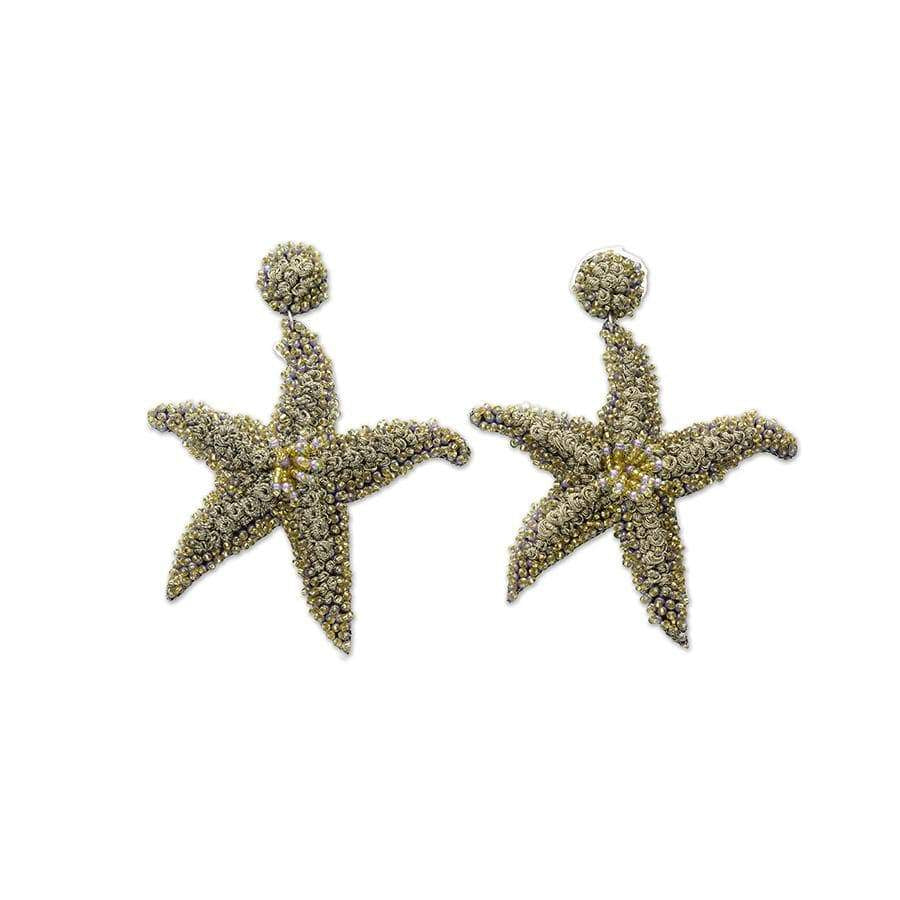 Lavender & Gold Starfish Earrings