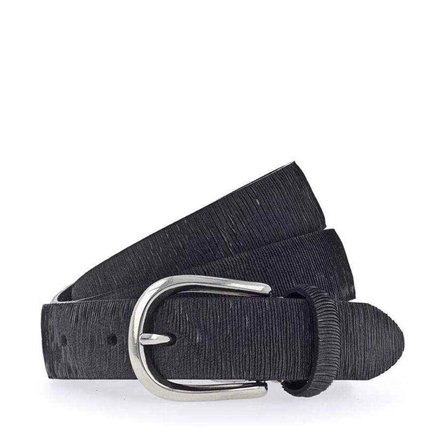 Leather Belt- R18 Black/Silver