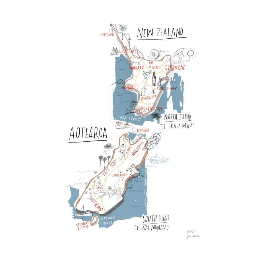 Printable Map Of South Island New Zealand.Map Of New Zealand Print