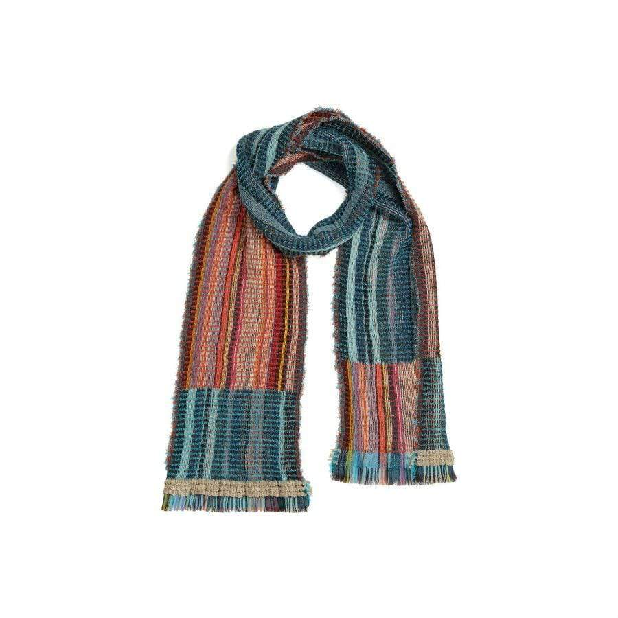 Merino Lambswool/Cotton Scarf -Gertrude-Orange/Turq