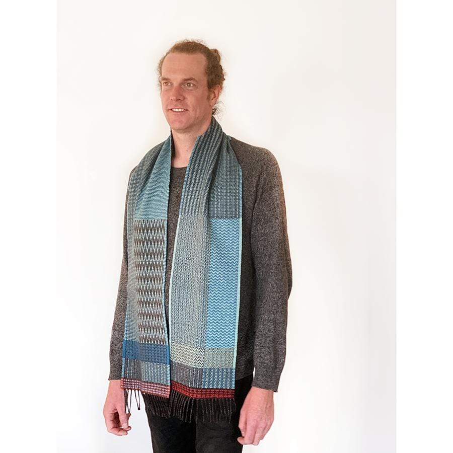 Merino Lambswool Diffusion Scarf Turquoise Duo