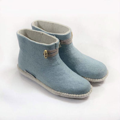 Milky Blue Boot | Felt Slippers