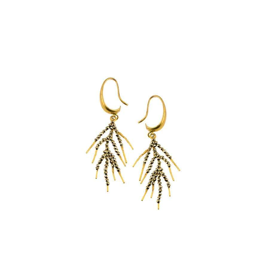 Mini Hematite Branch Earrings