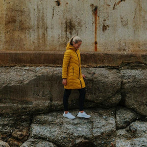 Moke Arnie | Reversible Long Down Coat | Ink/Saffron