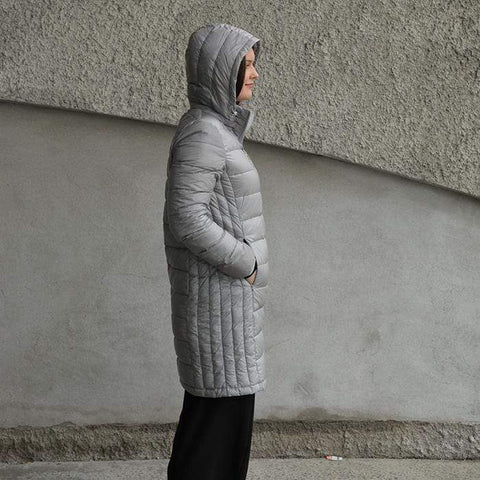 Moke Sarah- Long Duck Down Jacket - Ice Grey