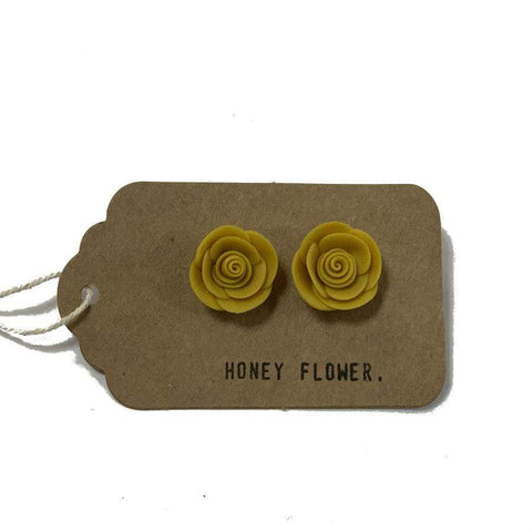 Mustard Rose Earrings | Made in NZ